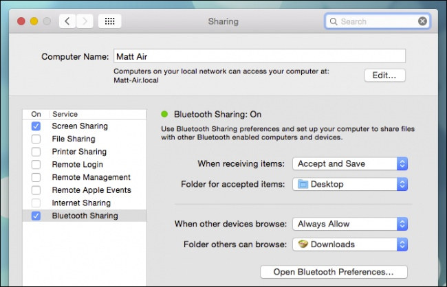 Use Bluetooth Sharing Preferences and set up your computer to share files with other Bluetooth enabled devices.
