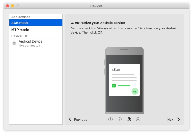 Click Next after devices authorization for Android USB file transfer.